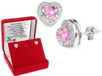 Srebrne kolczyki pr. 925 serce z różową cyrkonią DEDYKACJA - Srebrne kolczyki pr. 925 serce z różową cyrkonią