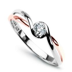 Staviori pierścionek z białego i różowego złota pr.585. diament, szlif brylantowy, masa 0,15 ct., barwa g, czystość si1.