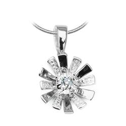 Staviori wisiorek. 1 diament, szlif brylantowy, masa 0,03 ct., barwa h, czystość i1. białe złoto 0,585. średnica korony ok. 10 mm. grubość 5 mm.