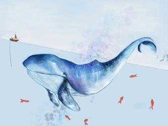 Wieloryb i rybki - plakat wymiar do wyboru: 100x70 cm