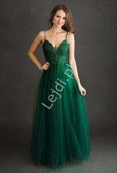 Butelkowo zielona suknia wieczorowa o zapierającym dech w piersiach wyglądzie 2221