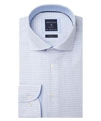 Elegancka błękitna koszula w delikatny kwadratowy wzorek 40