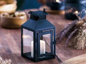 Latarenka  latarnia lampion ozdobny wiszący metalowy altom design kwadratowa czarna 21 cm