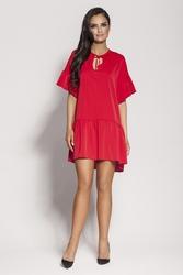 Czerwona dziewczęca sukienka letnia z falbankami