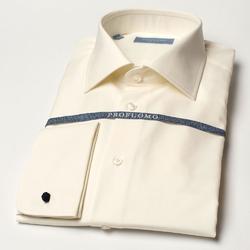 Śmietankowa  jasne ecru klasyczna koszula normal fit z półwłoskim kołnierzykiem, mankiety na spinki 40