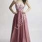 Satynowa suknia wieczorowa z wyeksponowanymi plecami - brudny róż 2168