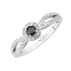 Srebrny pierścionek pr.925 z czarną cyrkonią - czarna