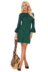 Zielona sukienka mini w kropki z rozszerzanymi rękawami