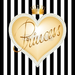 Obraz na płótnie canvas czteroczęściowy tetraptyk księżniczka rama serce z pereł i korony