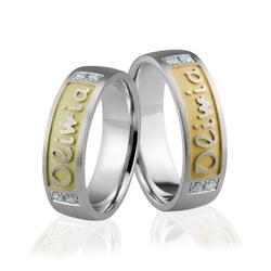 Obrączki srebrne pozłacane z kamieniami i imionami - wzór ag-289