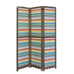 Parawan drewniany 3-skrzydłowy, kolorowe żaluzje