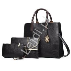Czarny elegancki zestaw torebek | komplet duża torebka z elegancką kopertówką i saszetką