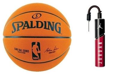 Piłka do koszykówki nba spalding ball series replica - indoor + pompka do piłek air jordan essential