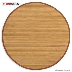 Mata bambusowa okrągła, dywanik bambusowy 120 cm brązowy