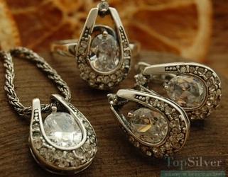 Genewa - srebrny komplet z kryształami