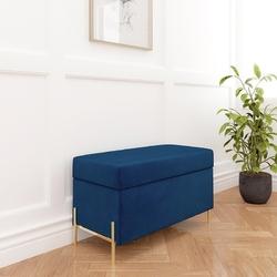 Granatowa tapicerowana ławka dancan borgo z pojemnikiem, na złotych metalowych nogach