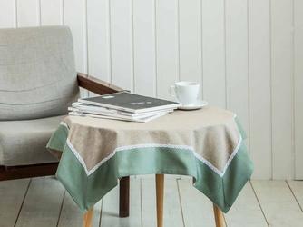 Obrus  serweta na stół z koronką altom design bawełniany oliwkowy  zielony 80 x 80 cm