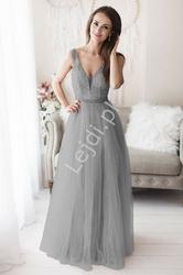 Srebrna brokatowa suknia wieczorowa zdobiona perełkami 2185