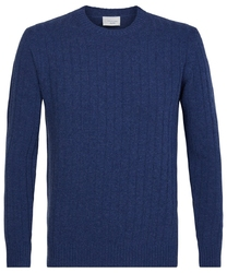 Elegancki niebieski sweter w prążek  m
