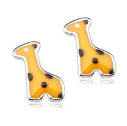 Staviori Kolczyki srebrne żółte żyrafy. Emalia. Srebro rodowane 0,925. Wymiary 5x8,5 mm.