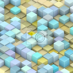 Fototapeta abstract 3d cubes backdrop in yellow and blue