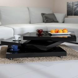 Ława obrotowa stolik kawowy do salonu czarny 60x60 - czarny  60x60