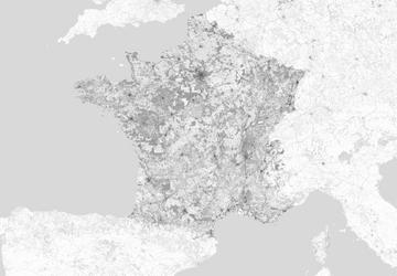 Francja - mapa w odcieniach szarości - fototapeta