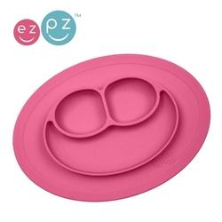 Silikonowy talerzyk z podkładką mały 2w1 mini mat różowy