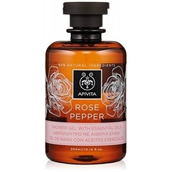 Apivita rose pepper żel pod prysznic z olejkami eterycznymi róży bułgarskiej i czarnego pieprzu 300ml