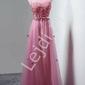 Sukienka wieczorowa z drobnymi szyfonowymi kwiatkami, pustynny róż - kirsten