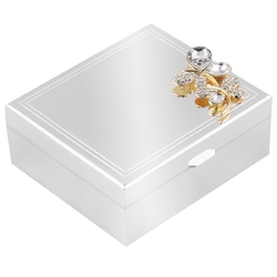 Posrebrzana szkatułka z motylem prezent na urodziny walentynki z grawerem