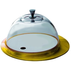 Casa bugatti - glamour - patera ze szklaną pokrywą - żółta - żółty