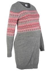 Sukienka dzianinowa ciążowa bonprix szary melanż wzorzysty