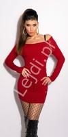Czerwona sukienka z dzianiny z kryształkami na kołnierzu z dekoltem carmen, 8080