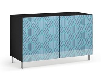 Nowoczesna komoda calisia niebiesko-beżowa z motywem geometrycznym  szer. 120 cm
