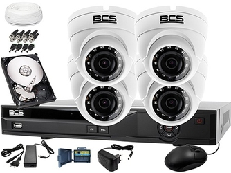 Zestaw do monitoringu: rejestrator bcs-xvr08014ke-ii + 4x bcs-dmhc1401ir + dysk 1tb + akcesoria