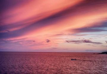 Zachód słońca nad oceanem - fototapeta