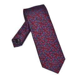 Granatowy jedwabny krawat w roślinny wzór długi
