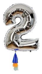 Meri meri balon cyfra 2 srebrny