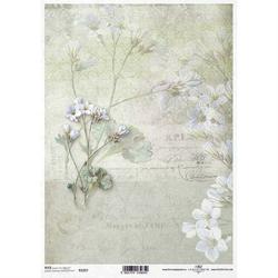 Papier ryżowy ITD A4 R1267 kwiaty retro