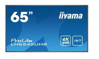 Iiyama monitor wielkoformatowy  64.5 cali lh6542uhs-b1 4k,187,sdm,ips,lan,pion,500cdm2,os8.0