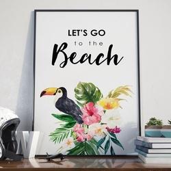 Plakat w ramie - lets go to the beach , wymiary - 60cm x 90cm, ramka - biała