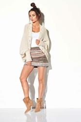Beżowy Nietoperzowy Sweter z Ozdobnym Brzegiem