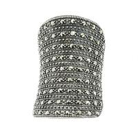 Brianna; srebrny pierścionek z markazytami, duży