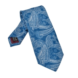 Niebieski krawat lniany we wzór paisley
