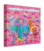 Trolls cupcakes and rainbows - obraz na płótnie