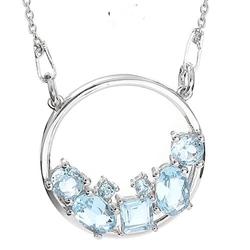 Tara srebrny naszyjnik wisiorek blue topaz celebrytka 2,1 ct.