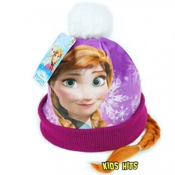 Zimowa czapka z warkoczem frozen anna 2-4 lata
