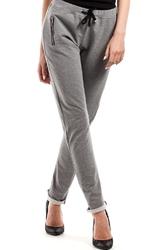 Szare wąskie spodnie z suwakami