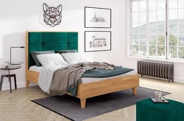 Tapicerowane łóżko drewniane bukowe visby frida z wysokim zagłówkiem